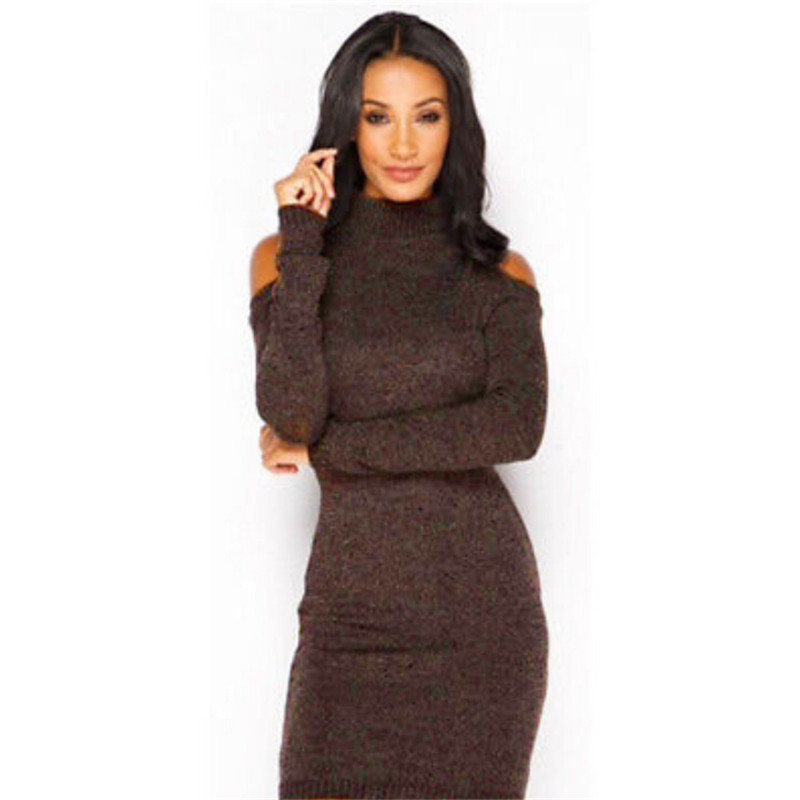 Casual Hollow Out knitted sweater dress women Cotton slim bodycon dress pullover female Autumn winter dress 2017 Vestidos