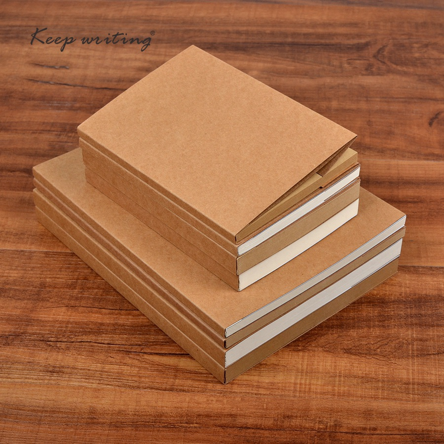 B5 B6 Kraft cover Notebook Blank pages plain <font><b>paper</b></font> 120 or 60 sheets can choose Journal school stationery <font><b>100gsm</b></font> Kraft <font><b>paper</b></font> image