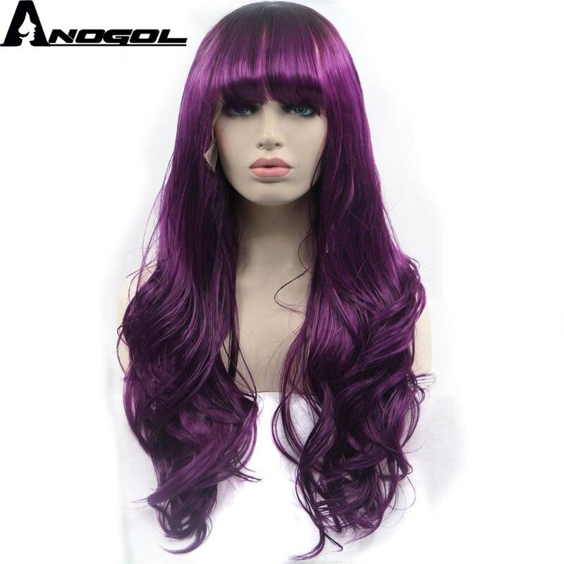 Anogol violet 150% densité haute température Fiber longue ondulée perruques frange synthétique dentelle avant perruque pour les femmes avec frange plate