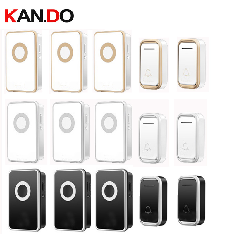 купить 2 emitters 3 receivers wireless door bell set by 110-220V doorbell Waterproof long range 300M door chime door ring villa use по цене 2234.87 рублей