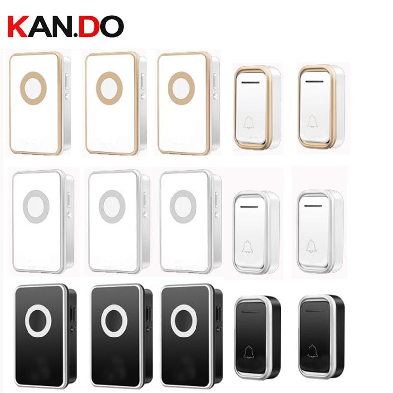 2 Emitters 3 Receivers Wireless Door Bell Set By 110-220V Doorbell Waterproof Long Range 300M Door Chime Door Ring Villa Use