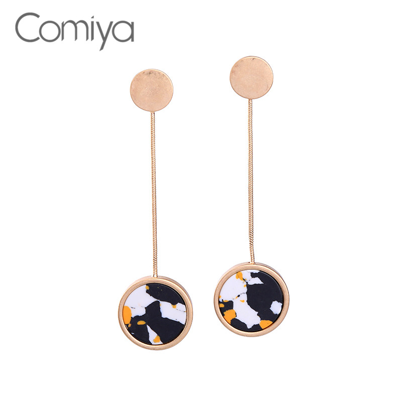 Comiya Gold Color Long Link Chain Vintage Round Stone Pendant Statement Long Boho Wedding Drop Earrings Leopard Zinc Alloy