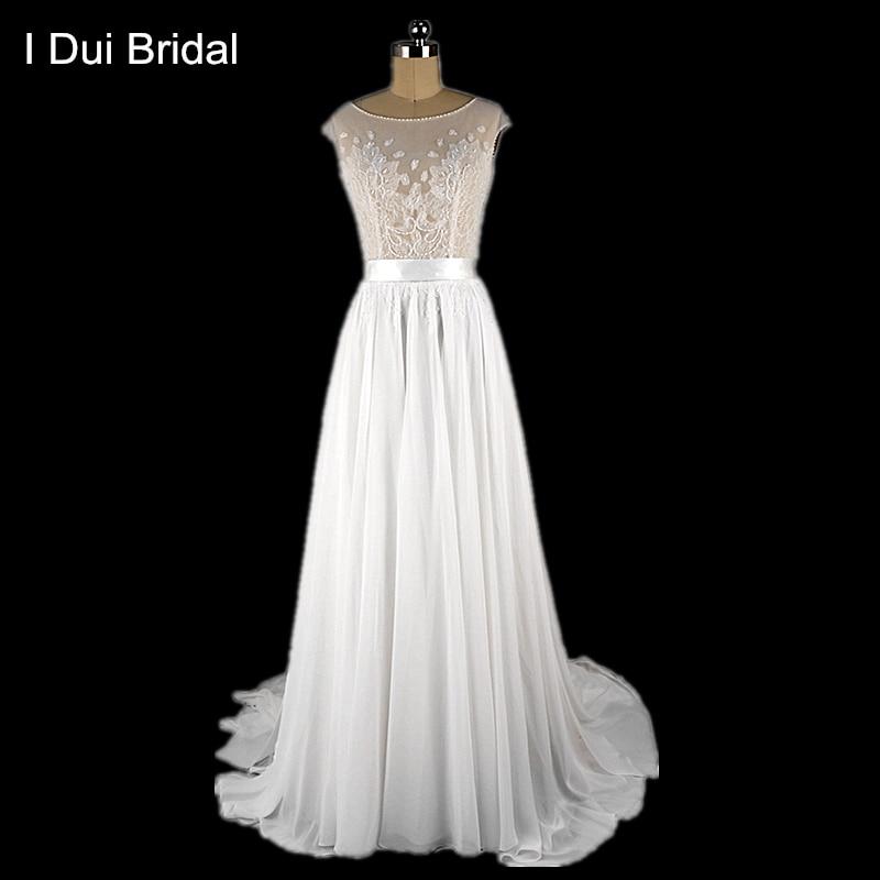Lace Chiffon- ի հարսանյաց զգեստները պառակտում են մի տող `փնջի հարսանիքի զգեստ Իրական լուսանկարը պատրաստված է Bohemian Illusion կորսետ ELS0003