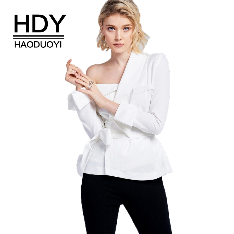 HDY Haoduoyi Solid Long Sleeve One Shoulder Lace Up Waist Blouses Casual Slim OL Botton Cuffed Sleeve Casual Shirt For Female