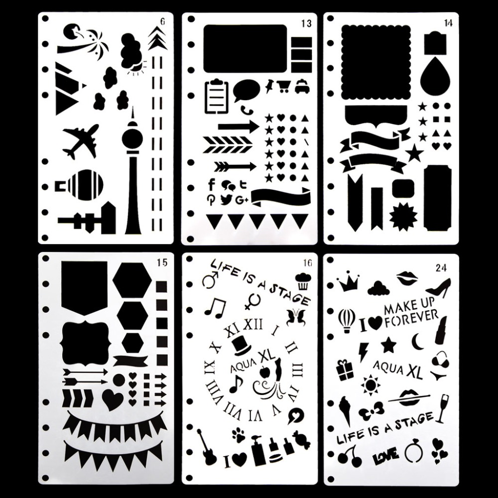 Journal Stencil Plastic Planner DIY Craft Drawing Template Diary Decor A6