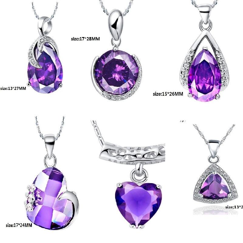 2016 Purple Crystal Pendant 925 Sterling Silver Purple Flower Heart Pendant Necklace Micro Insert Pendant Necklace