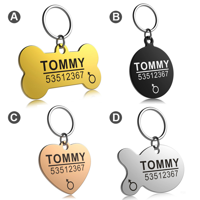 FLOWGOGO Anti-lost Stainless Steel Dog ID Tag Engraved Pet Cat Puppy Dog Collar Accessories Telephone Name Tags Pet ID Tags 1