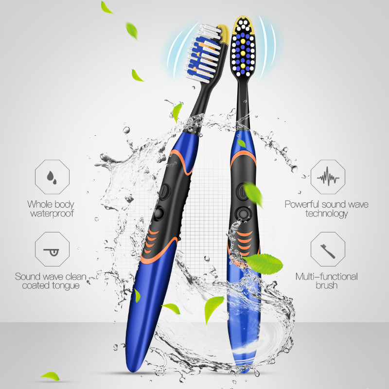 Powerful Sonic Wave Electric Toothbrush Whole Body Waterproof Teeth Clean Brush Gums Massage Brush Battery Powered Toothbrush 0 image
