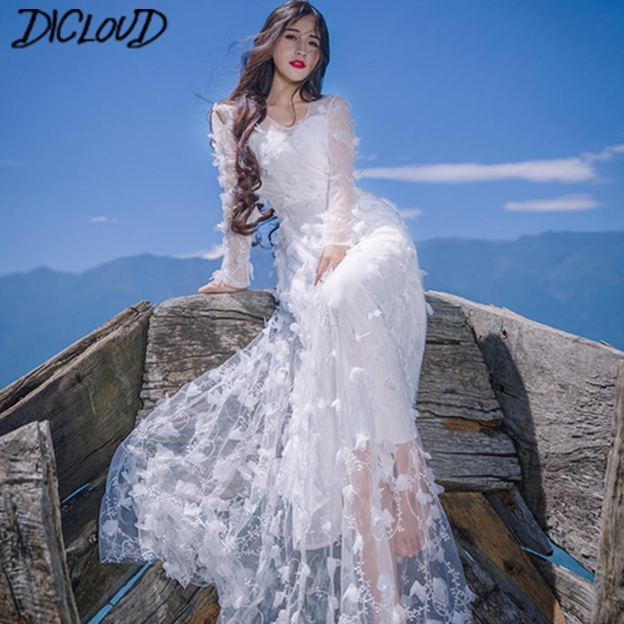 New 3D Flower Maxi Dress Women 2018 Sexy V-Neck Beach Dress Female Vacation Wind Mesh Summer Dresses Elegant Party Vsestidos
