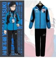 Yuri on ice katsuki yuri cosplay kostüm erkekler spor takım elbise sportwear kıyafet mavi ceket + siyah üst + siyah pantolon tam set