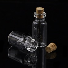 2mL 10Pcs Mini Small Tiny Clear Cork Stopper Glass Bottles Vials #Y207E# Hot Sale