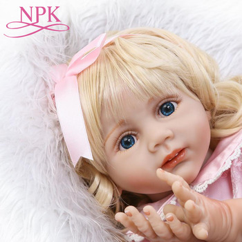 "Real Girl Doll Reborn 24"" 60CM Silicone Baby Reborn Bonecas Lifelike Long Hair Pink Dress Dolls For Girls Birthday Gift"