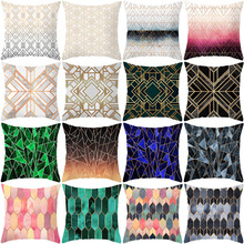 Morden Golden Geometric striped Cushion Cover sofa Polyester Printed home decorative throw pillow cover blue Plaid pillow case цены