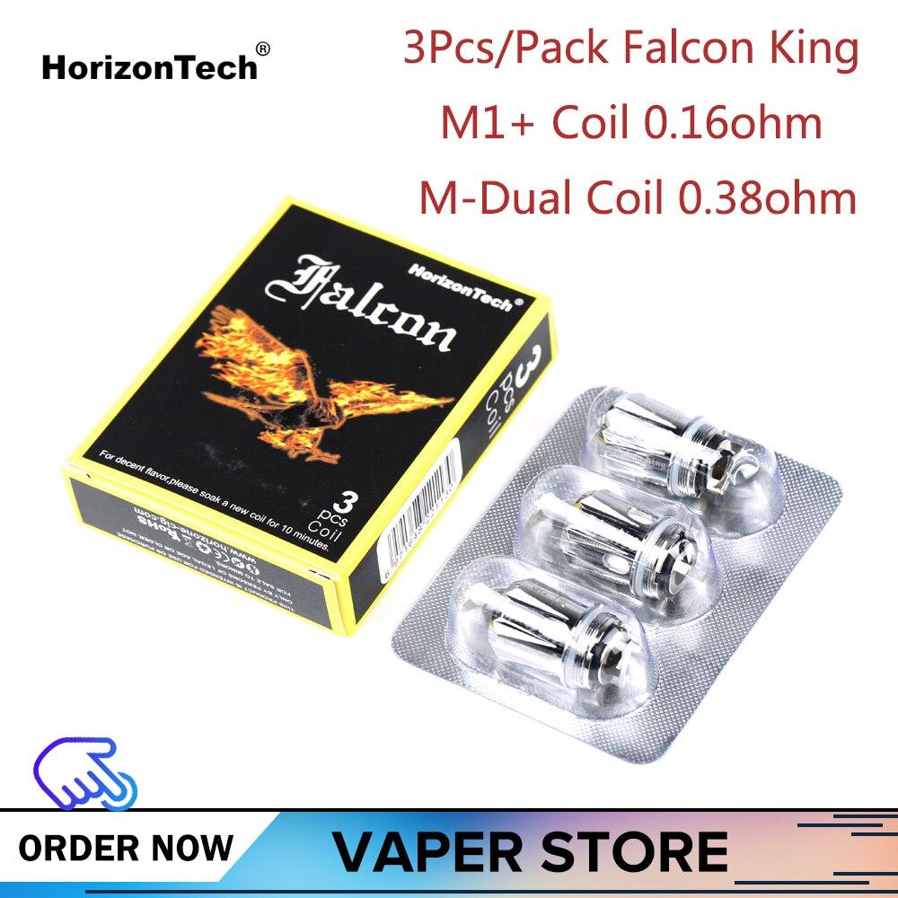 3/6/9 pces original horizontal falcon rei bobina m1 +/m-cabeça de núcleo duplo 0.16ohm/0.38ohm e-cigarro acessórios falcon rei tanque