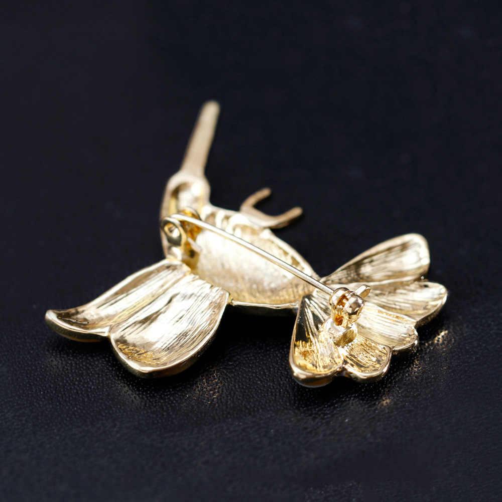 2018 Mode Enamel Shell Hummingbird Pria Hadiah Pria perhiasan Pernikahan Bros dan Pins Broches Bros Hewan