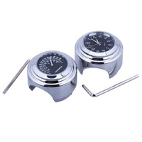 1 Pair Universal Waterproof 7 8 Motorcycle Bike Handlebar Mount Clock Watch And Handle Thermometer Silver