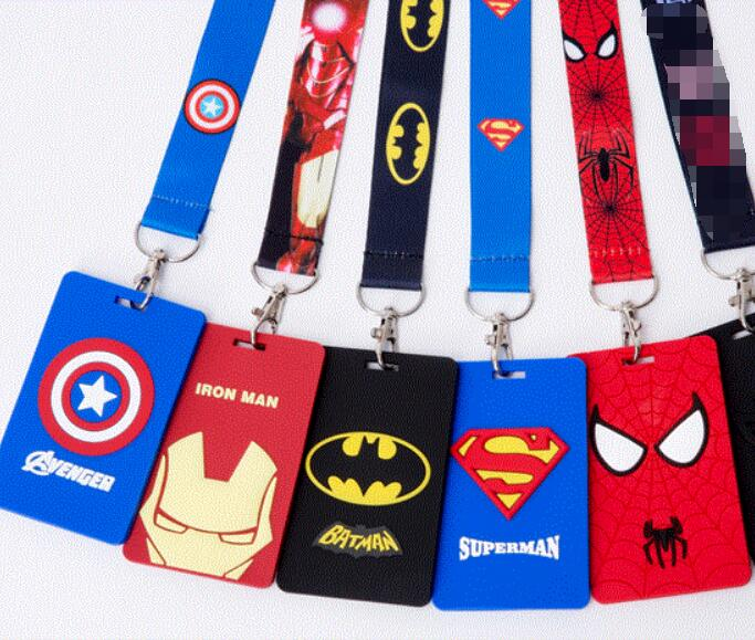 New 1 Pcs Cartoon Batman Spiderman Superman   Card With  Neck Strap Lanyard Mobile Phone Charms Key Chain  B22