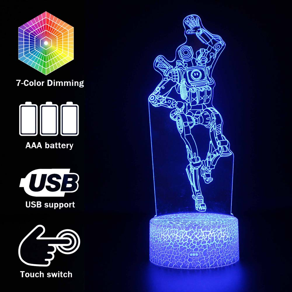 New 3D illusion Led Lamp Apex Legends Pathfinder Action Figure Night Light Protector For Kids Present APEX toys For Gamers-in Action & Toy Figures from Toys & Hobbies