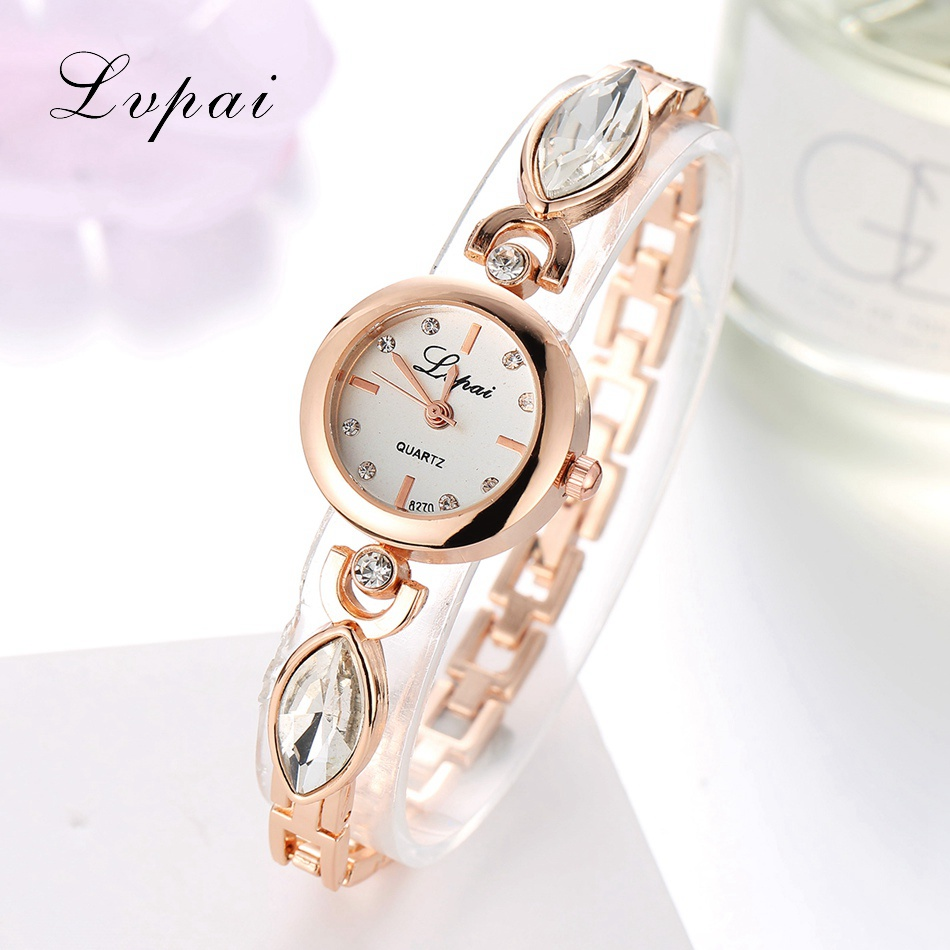 Hot Women Lvpai Luxury Brand Women Bangle Watch Dress Clock Lady Gold Rhinestone Quartz Bracelet Watch Women WristWatches LP084 2017 lvpai flower rose gold bracelet watches women fashion casual quartz watch rhinestone wristwatches girls bangle women watch