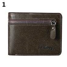 Men's Faux Leather ID Credit Card Holder Bifold Wallet Purse Zipper Short Clutch