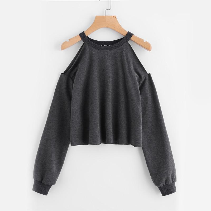 Heathered Grey Stylish Open Cut Shoulder Women Sweatshirt