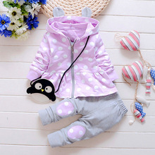 Новая детская одежда для Обувь для девочек для отдыха хлопковая куртка с капюшоном+ Брюки для девочек костюм для новорожденных/костюм одежда