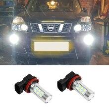 2x H11 H8 светодиодный DRL противотуманные лампочки для Nissan Qashqai Tiida Trail Pathfinder 2005-2010 дневные ходовые огни 6000 К белый свет