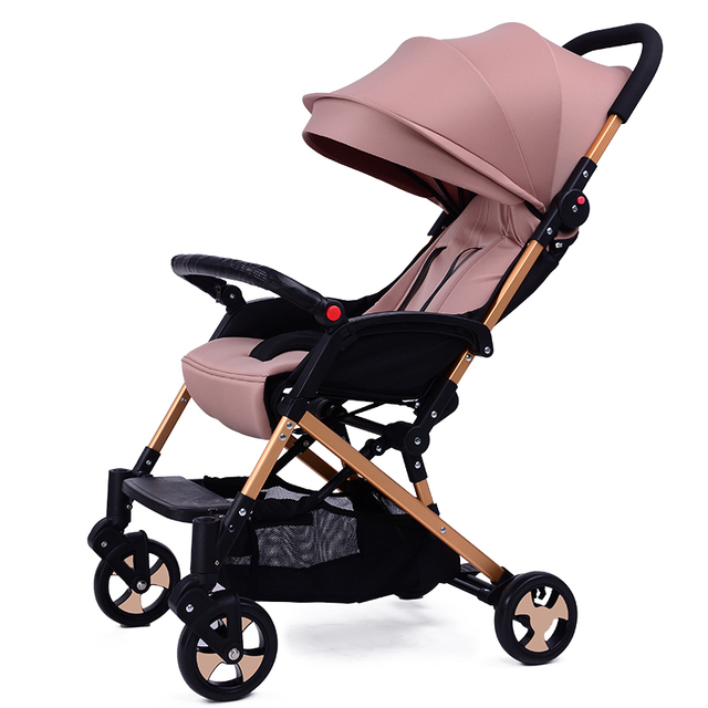 High Quality Golden Frame Light Weight Baby Stroller Folding Easy Baby Car Aluminum Pushchairs Shockproof Prams for Newborns C01