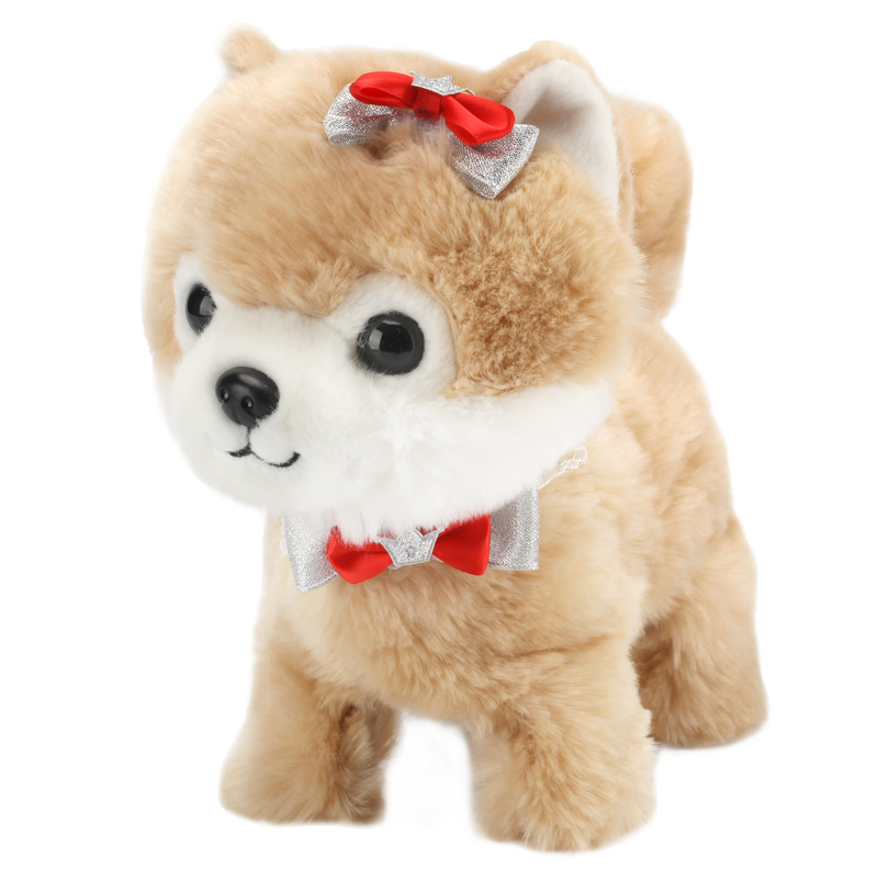 Купить с кэшбэком Robot Dog Sound Control Interactive Dog Electronic Plush Pet Toys Walk Bark Leash Teddy Toys For Children Birthday Gifts