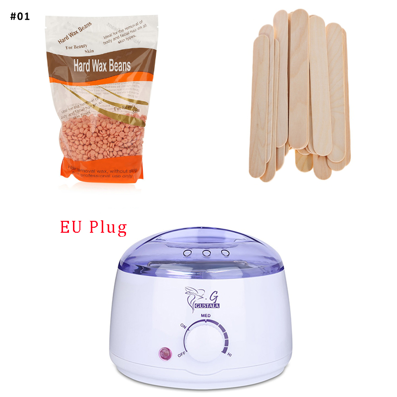 GUSTALA Mini SPA Hair Removal 500ml Wax Warmer+300g Wax Beans+20pcs Disposable Waxing Stick Epilation Removal for Men and Women pro 300g pack paper depilatory wax hair removal solid hard wax beans honey flavor for men women body hair epilation