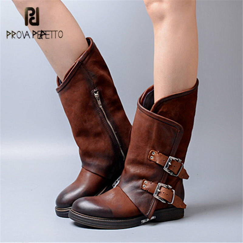 Prova Perfetto Handmade Women Autumn Winter Platform Rubber Boots Flat Shoes Woman Retro Genuine Leather Belt Buckle Botas Mujer prova perfetto black handmade women genuine leather mid calf boots buckle straps martin boots women platform rubber shoes woman