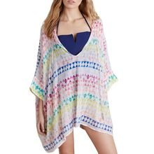 Womens Beach Chiffon V-Neck Off Shoulder Pullover Tops Colored Rainbow Triangle Printed Bikini Cover Up Oversized Asymmetric Min asymmetric shoulder solid pullover
