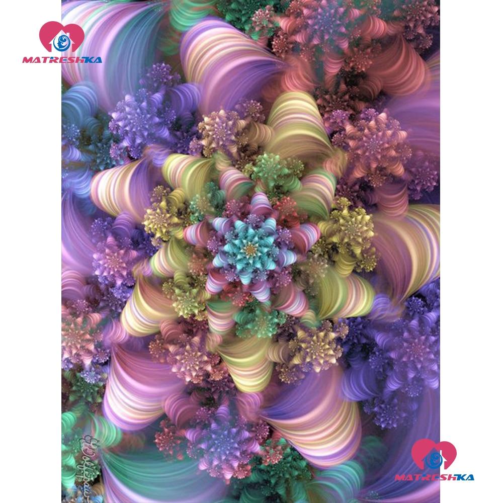 5D DIY Round Drill Diamond Painting Flowers Cross Stitch Embroidery Decor Kits