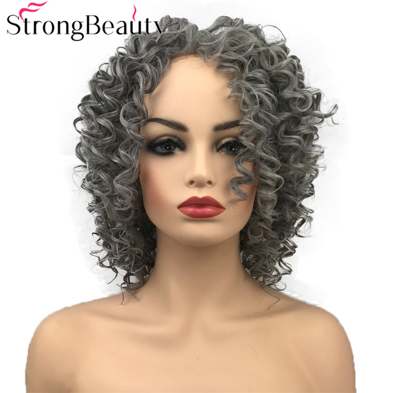 StrongBeauty Synthetic Lace Front Wig Medium Length Curly Wigs Grey White/Brown Hair