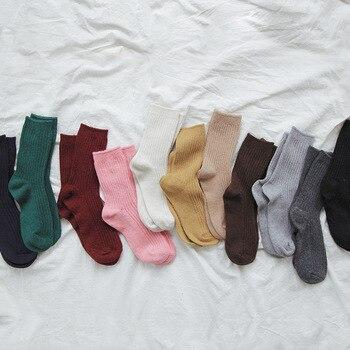 Calcetines de algodón estilo japonés cálidos hasta el tobillo para mujer, calcetines casuales de punto de color sólido Harajuku Popsocket, calcetines de invierno para calcetín de arte Mujer