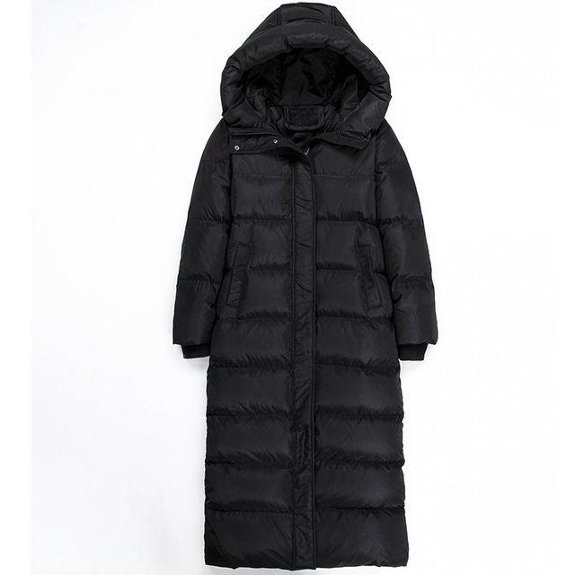 Fashion Super Long Women's Down Jacket Manteau Femme Hiver Hoodies White Duck Down Winter Coat Women Parka Female Jacket C5112 4