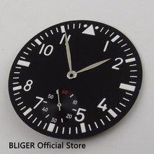 Классический 38,9 мм черный стерильные Циферблат Белый арабскими цифрами Циферблат часов+ серебряными стрелками подходит для приблизительный срок поставки: 6498 ручной завод D61