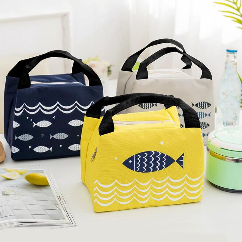 Waterproof Insulated Lunch Bag Thermal Stripe Tote Bags Cooler Picnic Food Lunch Box Bag For Women Girls Ladies Kids Children