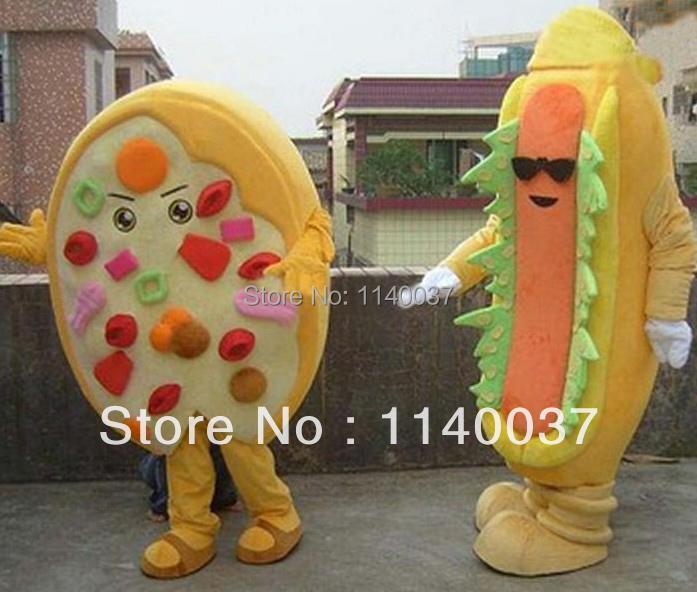 mascot 1 pair of Hambuger and Pizza Food Mascot Costume New Style Pizza and Hambuger Mascotte Outfit Suit EMS FREE SHIPPING