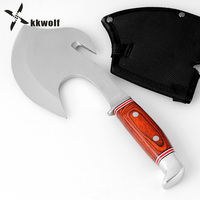 KKWOLF Camping Tomahawk Axe Head Overall Steel Wooden Handle Hunting Survival Fighting Multi Rescue Hatchet Fire Felling Broad A
