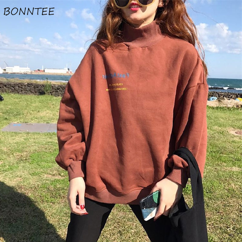 Hoodies Women Harajuku Plus Velvet Thicken Ulzzang Cotton Womens Sweatshirts Students Loose Long Sleeve Ladies Pullover Chic