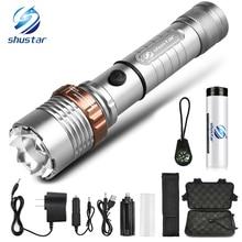 공격 헤드가있는 강력한 LED 손전등 자기 방어 토치 지원 줌 5 조명 모드 나침반으로 18650 배터리로 구동