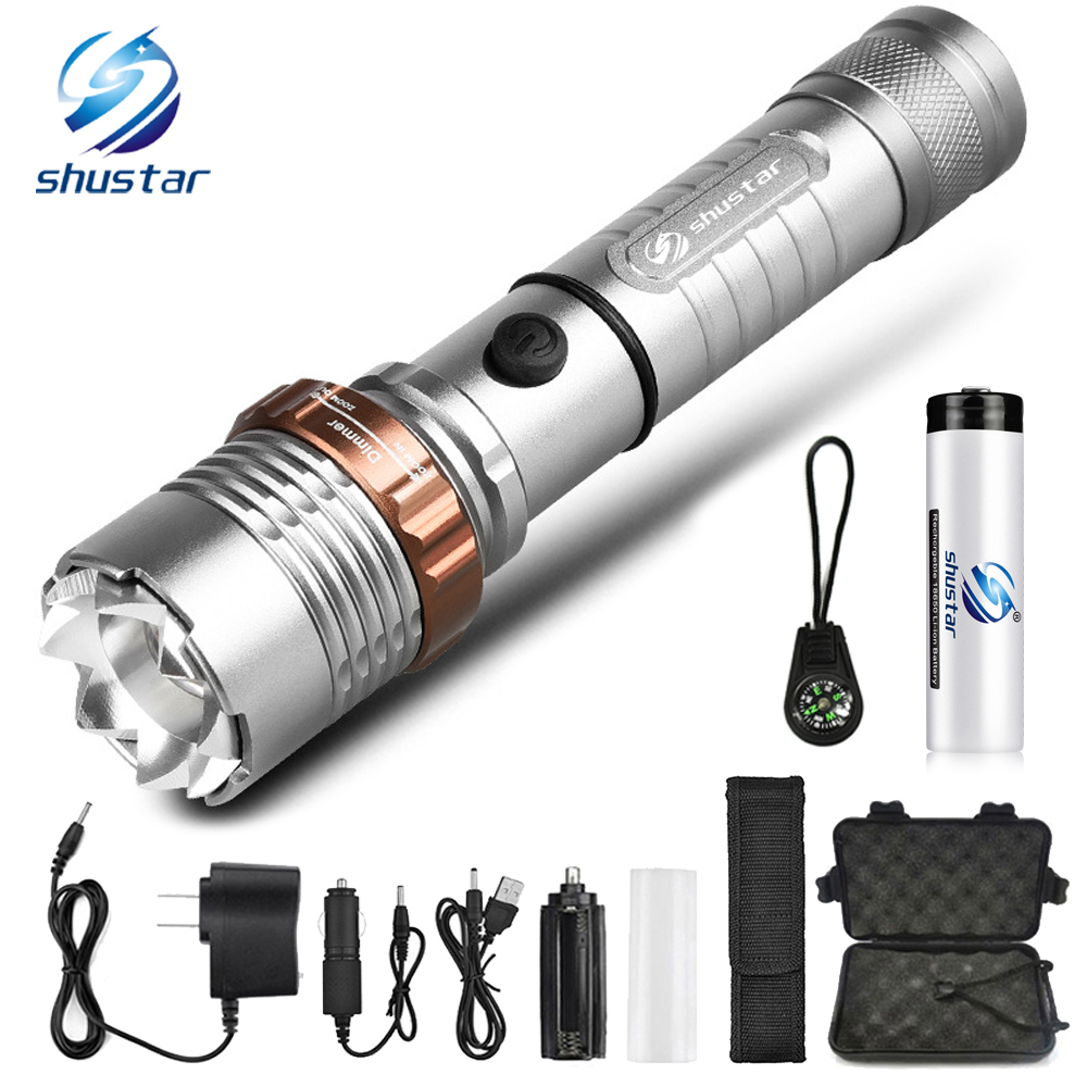 Powerful LED Flashlight With Attack Head Self-defense Torch Support Zoom 5 Lighting Modes Powered By 18650 Battery With Compass
