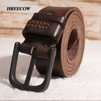 Genuine Leather Do Old Belt For Men High Quality Black Buckle Jeans Belt Cowskin Casual Belts
