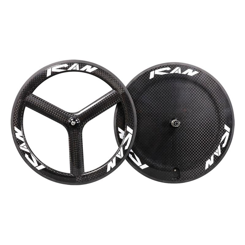 Hot carbon disc wheel tubular three spokes bicycle wheelset