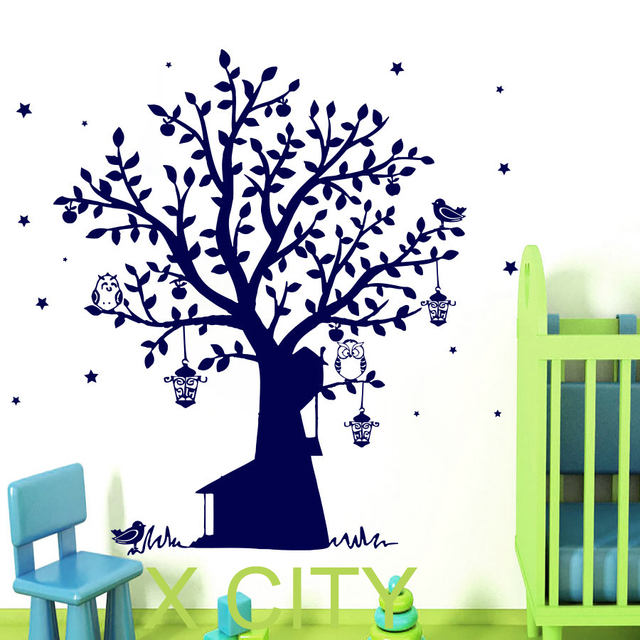 Tree wall decals owl vinyl sticker bird lantern star kids baby nursery bedroom decor home art
