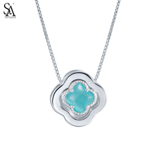 SILVERAGE Genuine 925 Sterling Silver Pendant Necklaces Fine Jewelry for Women Lucky Four Leaf Clover 2016 New 11.11 Gift, 18″
