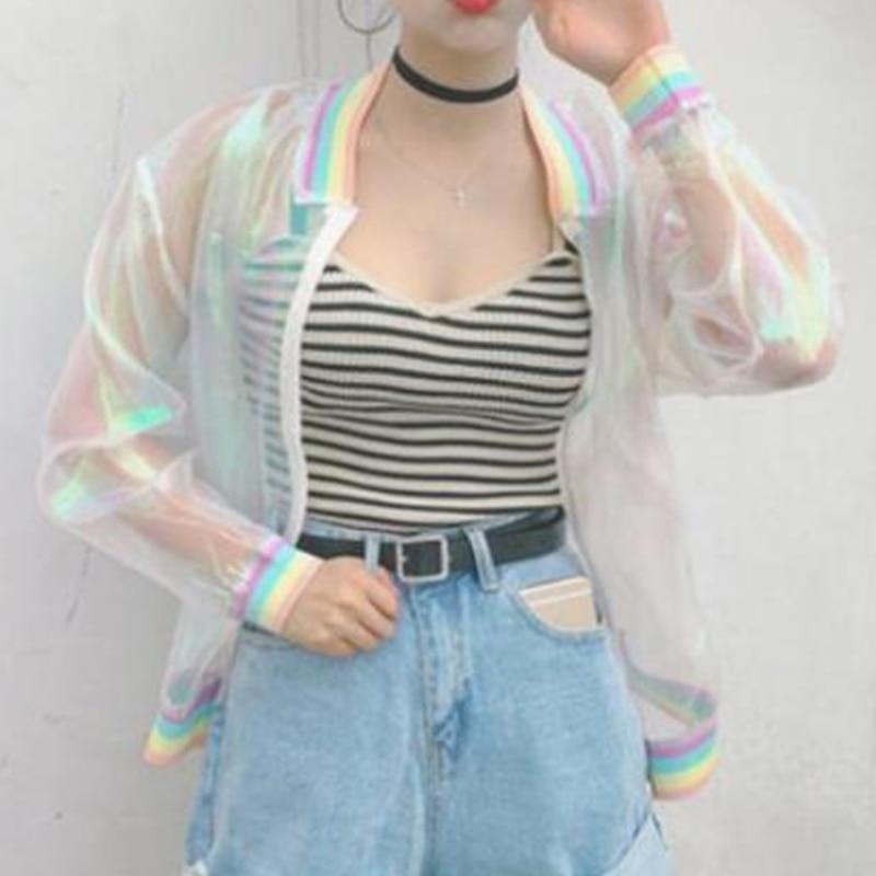 Coat Women Iridescent Transparent Short Jacket Holographic Laser Rainbow Bomber casual Tops
