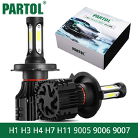 Partol S5 H4 H7 H11 H1 9005 9006 9007 LED Headlight Bulbs COB 72W 8000LM Car