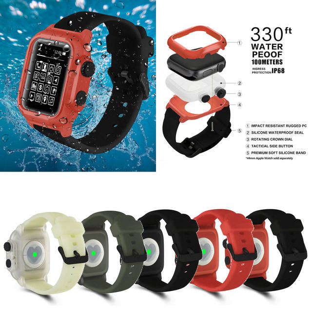 Full Protect IP68 Waterproof Case for Apple Watch Series 5 4 3 2 Silicone Strap Bracelet for iWatch 44mm 42mm Sport Band Cover